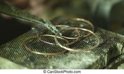 Macro detail shot of making jewelry