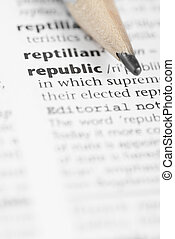 Macro Dictionary Word: Republic. - Macro image of dictionary...