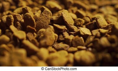 Macro dolly shot of instant coffee granules clip