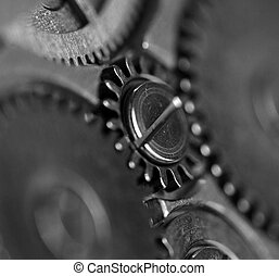 macro, engrenagem, closeup, metal, extremo, black-and-white...