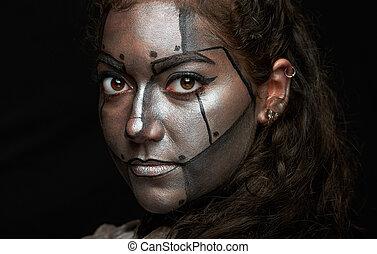 macro, femme,  métal, masque, figure