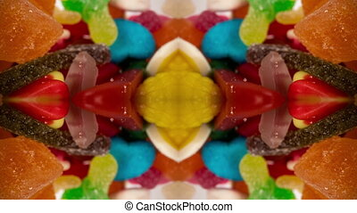 Macro fly-through footage of jelly sweets abstract pattern...