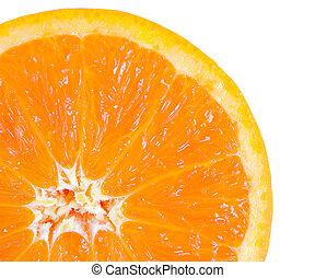 Macro food collection - Orange slice. Isolated on white backgrou