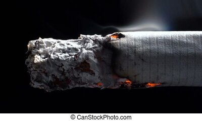 Macro footage of smoldering cigarette on black background