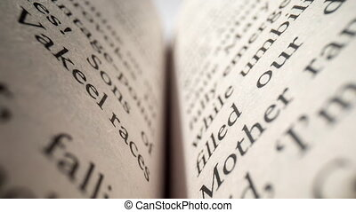 Macro footage of words on pages of a book