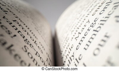 Macro footage of words on pages of a book - Extreme close up...