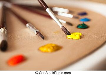 macro, foto, de, brocha, mojado, en, amarillo, pintura de...