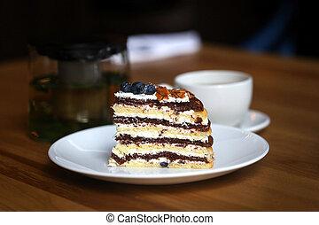 macro, foto, de, sabroso, pastel, con, bayas, y, té