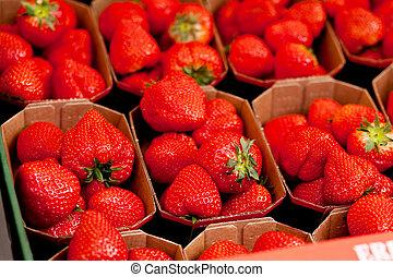 macro, fraises fraîches, délicieux