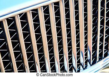 macro, grille, gril, moteur, chrome, texture, arrière-plan., puissant, sunflare., métal, grand, radiateur, voiture, grille., gros plan
