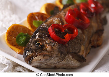macro grilled trout on a plate. Horizontal