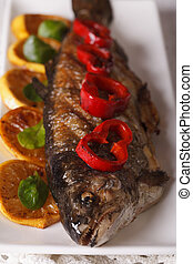 macro grilled trout on a plate. Vertical top view