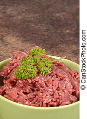 macro ground beef in bowl