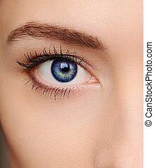 macro, helder blauw, oog, van, mooi, woman., closeup,...