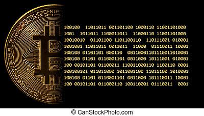 macro, image, bitcoin, contre, unique, noir, bits