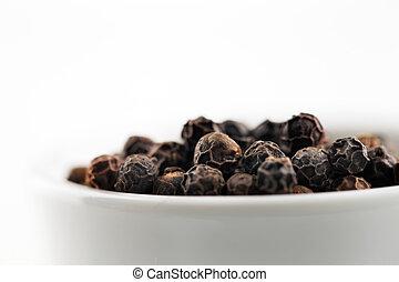 macro, image, grains poivre noirs