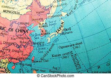 Macro image of a Map of Japan