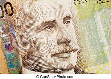 Macro image of canadian hundred dollar bill, close up