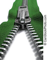 green zipper - macro image of green zipper being unzipped or...