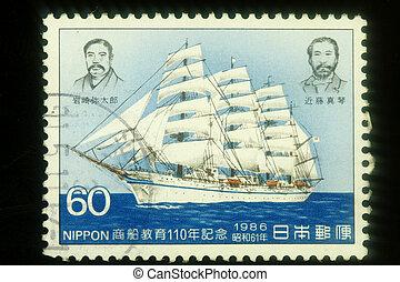 Macro image of Japan postage stamp