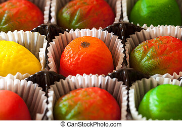 Macro image of marzipan fruit candies