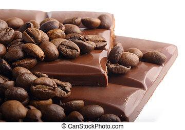 macro, koffie, grit, bonen, chocolade