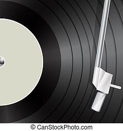 macro, música, vinil, fundo, retro