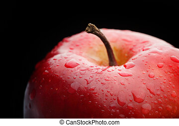 macro, maçã, vermelho