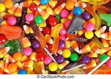 mixed halloween candy background - macro mixed halloween ...