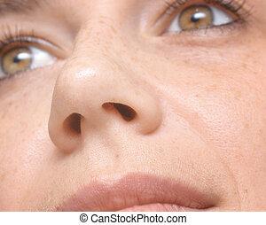macro, nez, femme