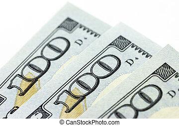 macro, nosotros dólares, blanco, plano de fondo