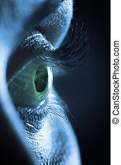 macro, oeil, humain, femme