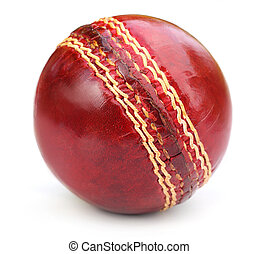 Macro of a cricket ball seam over white background