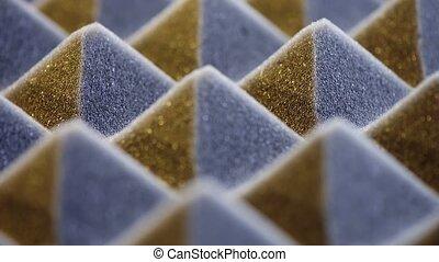 Macro of acoustic foam panel background, sliding video, very...