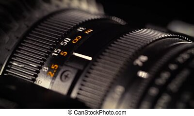 Macro of Camera Lens, zoom, iris, focus ring - Close-up of a...