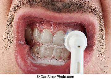 Macro of cleaning teeth
