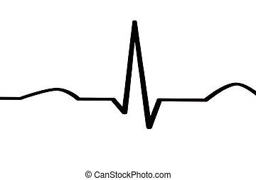 ECG diagram - Macro of ECG diagram - white background