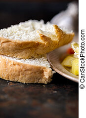 Macro of fresh bread sliced