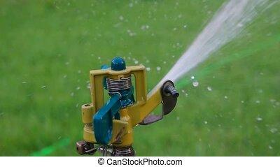 Macro of Garden watering sustem working