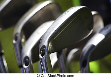 Macro of golf irons