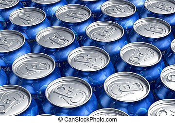 Macro of metal cans