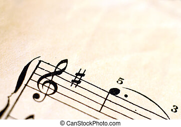 Macro of music score for background - Close up of piano ...