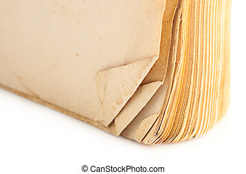 Macro of old book pages