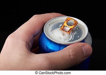 Macro of open beer can