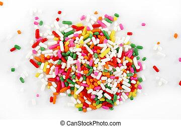 macro of rainbow sprinkles