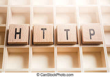 Macro Of The Word HTTP Formed By Wooden Blocks In A Type Case