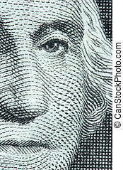 Macro of Washington on the US One Dollar Bill