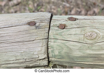 macro of wood with nails