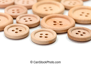 Macro of wooden buttons