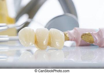 macro, outils dentaires, prothétique, dents